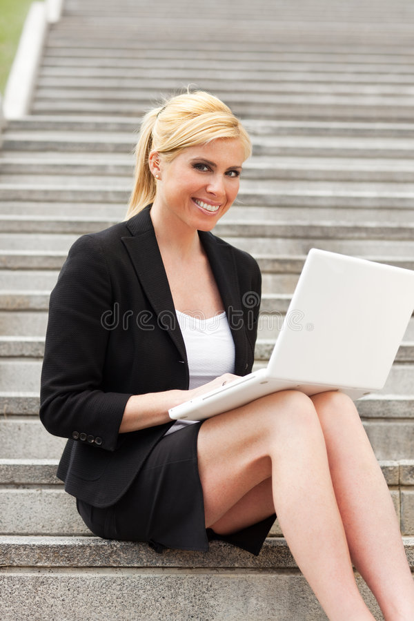 Businesswoman using computer laptop stock images