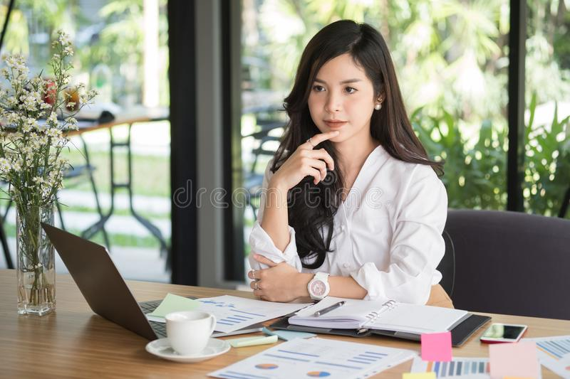 Businesswoman using computer at workplace. startup woman working stock images