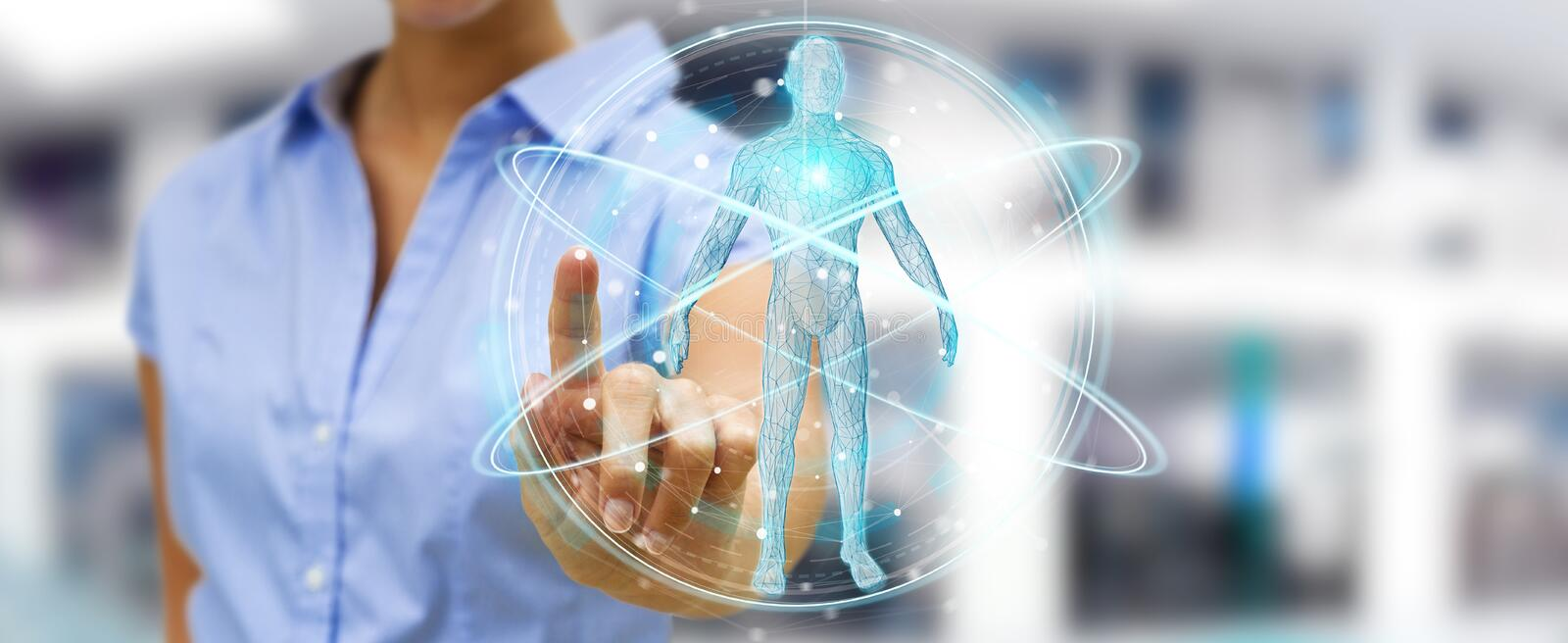 Businesswoman using digital x-ray human body scan interface 3D r. Businesswoman on blurred background using digital x-ray human body scan interface 3D rendering royalty free illustration