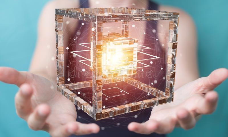 Businesswoman using futuristic cube textured object 3D rendering. Businesswoman on blurred background using futuristic cube textured object 3D rendering royalty free illustration