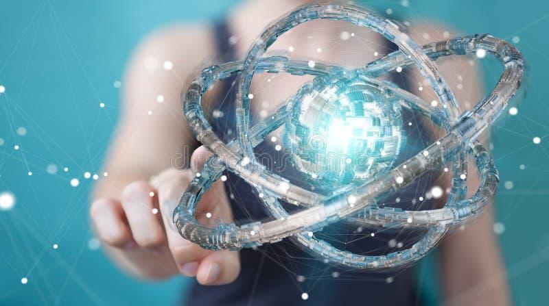 Businesswoman using futuristic torus textured object 3D rendering. Businesswoman on blurred background using futuristic torus textured object 3D rendering royalty free illustration