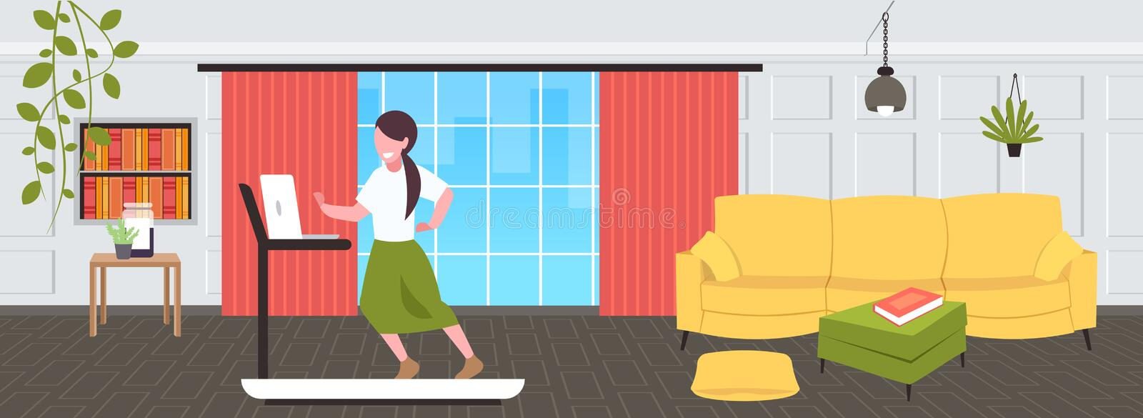 Businesswoman using laptop running on treadmill woman freelancer workout hard working concept modern living room royalty free illustration