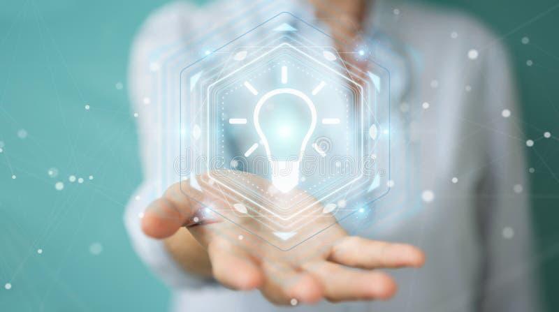 Businesswoman using lightbulb idea interface 3D rendering royalty free illustration