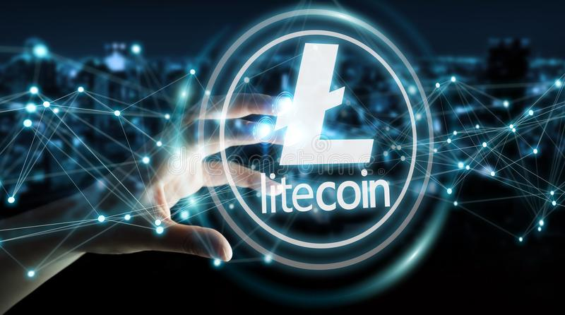 Businesswoman using litecoins cryptocurrency 3D rendering stock illustration