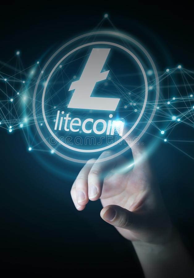 Businesswoman using litecoins cryptocurrency 3D rendering. Businesswoman on blurred background using litecoins cryptocurrency 3D rendering vector illustration
