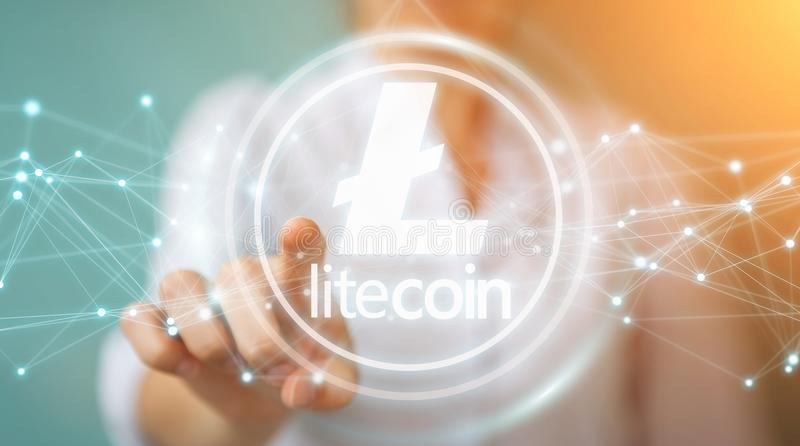 Businesswoman using litecoins cryptocurrency 3D rendering royalty free illustration