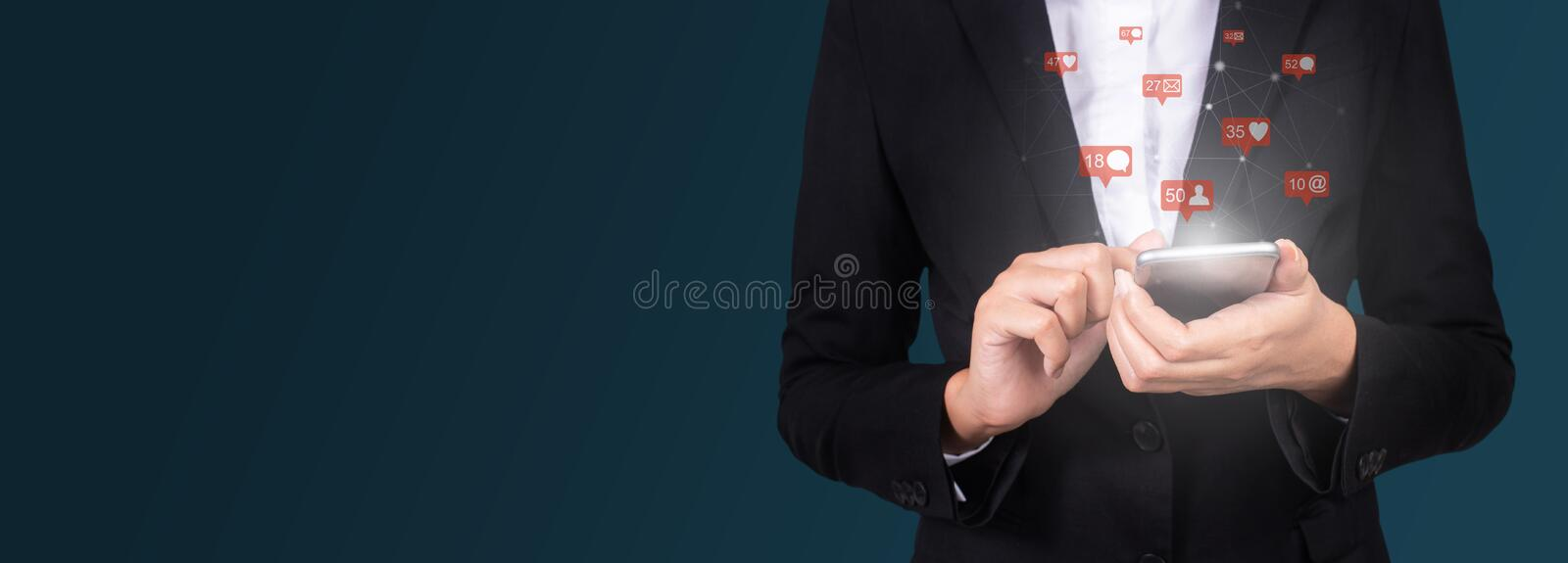 Businesswoman using mobile smart phone, Social, media, Marketing royalty free stock photos