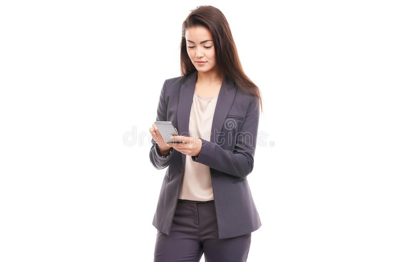 Businesswoman using phone stock photos