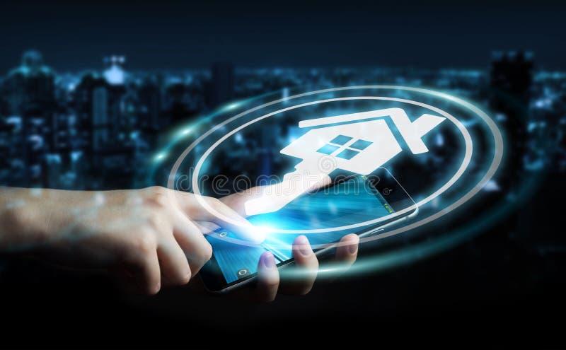 Businesswoman using real estate digital interface 3D rendering vector illustration