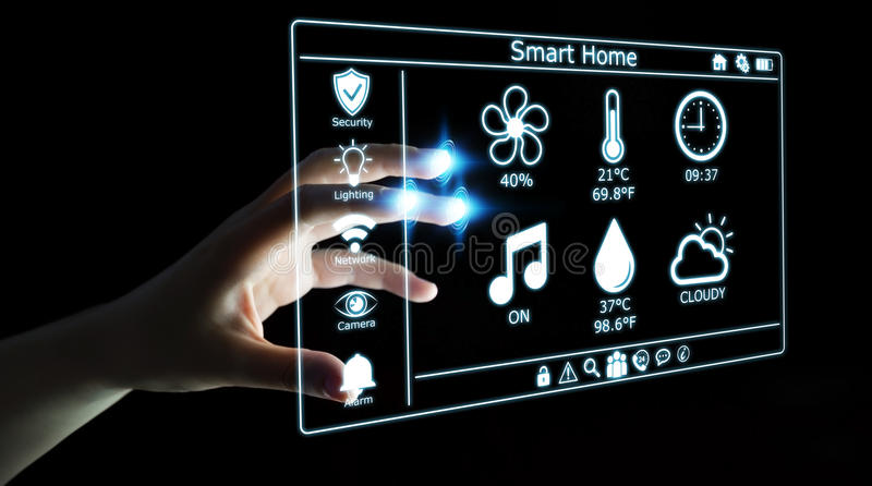 Businesswoman using smart home digital interface 3D rendering. Businesswoman on blurred background using smart home digital interface 3D rendering stock illustration