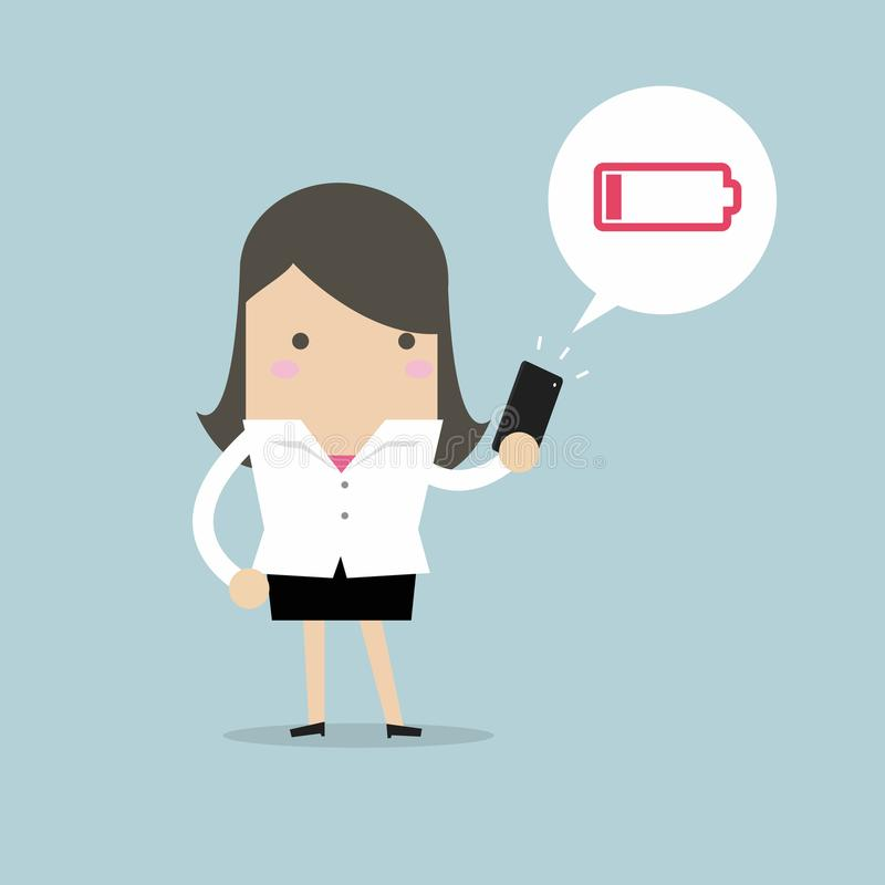 Businesswoman using smartphone with low battery alert. royalty free illustration