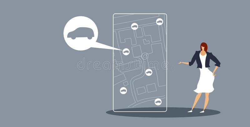 Businesswoman using smartphone screen ordering cab woman using mobile application online taxi service concept sketch. Doodle horizontal full length vector royalty free illustration