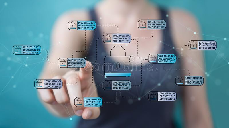 Businesswoman using thin line social network icons interface. Businesswoman on blurred background using thin line social network icons interface stock illustration