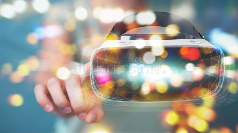 Businesswoman using virtual reality glasses technology 3D render vector illustration