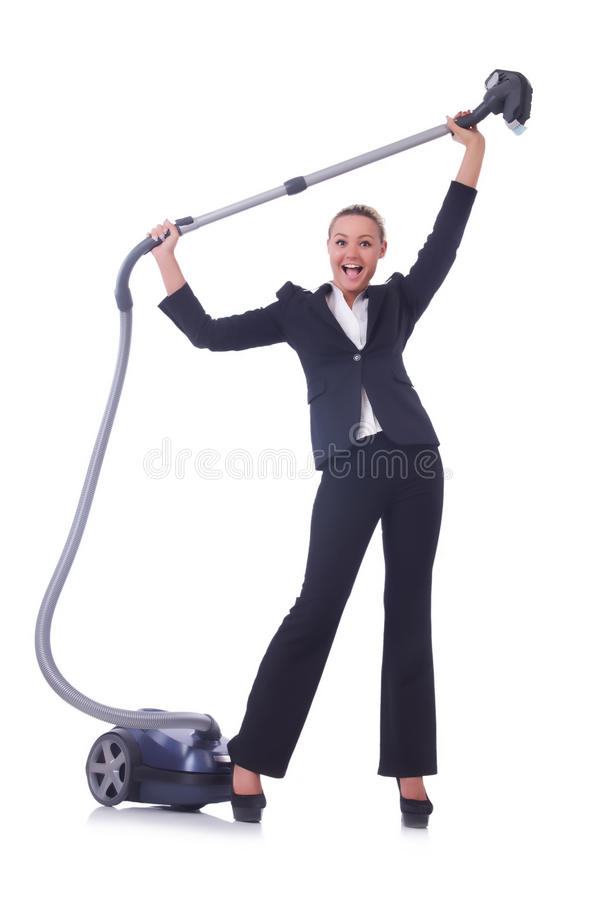 Download Businesswoman With Vacuum Cleaner Stock Image - Image of female, dust: 31752513