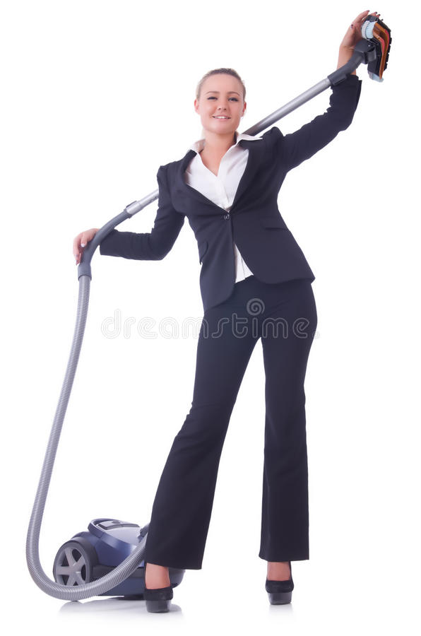 Download Businesswoman With Vacuum Cleaner Stock Photo - Image: 32217234