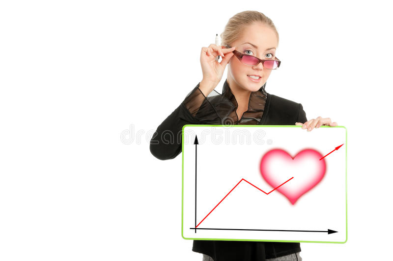 Download Businesswoman With Valentine's Day Diagram Stock Image - Image: 12810473