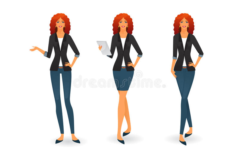 Businesswoman in various poses stock illustration