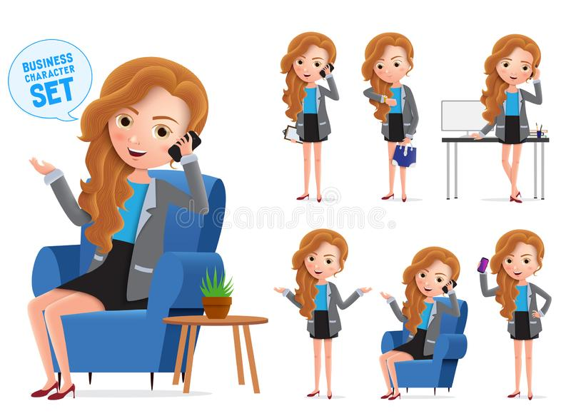Businesswoman vector characters set. Sitting business woman young office manager character. vector illustration