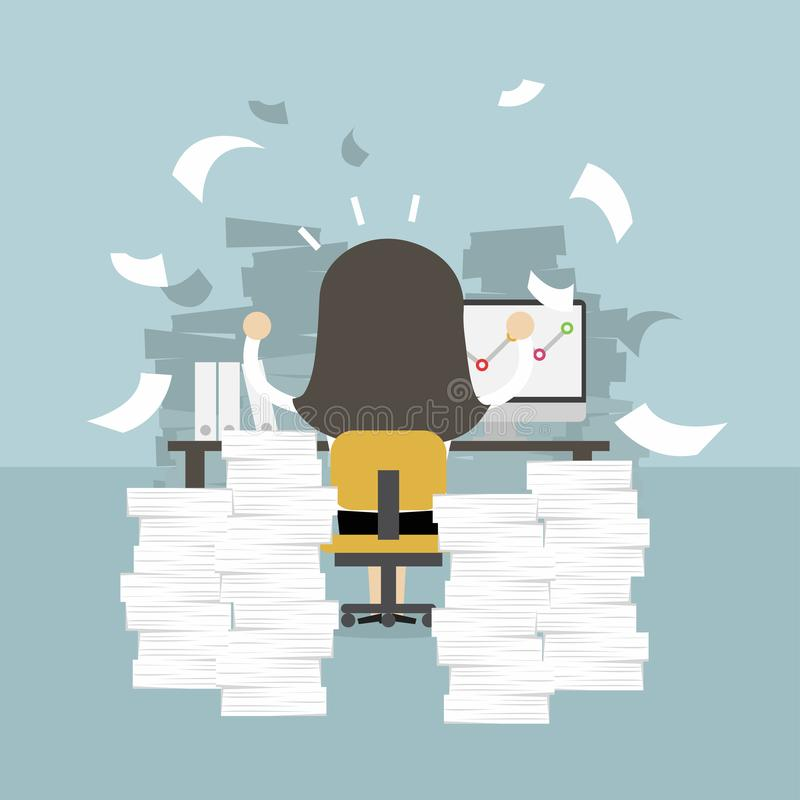 Businesswoman very busy on office table. work hard concept. royalty free illustration