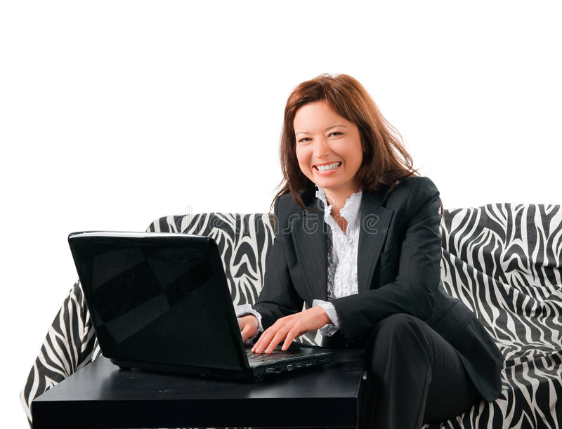 The Businesswoman Very Emotionally Works At The Co Royalty Free Stock Image
