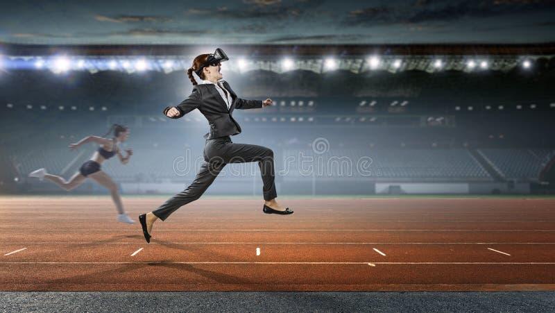 Feel virtual reality. Mixed media stock photography