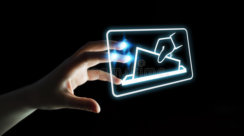 Businesswoman voting using digital interface 3D rendering royalty free illustration