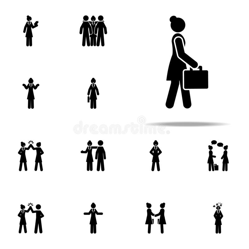 businesswoman, walk icon. businesswoman icons universal set for web and mobile vector illustration