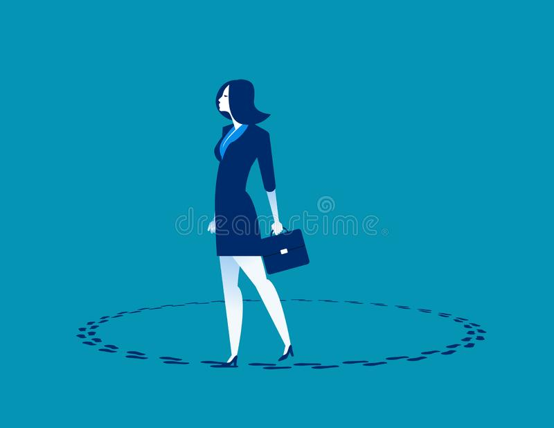 Businesswoman walking in circle. Concept business vector illustration. vector illustration