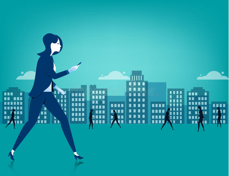 Businesswoman walking on city using a smart phone stock illustration