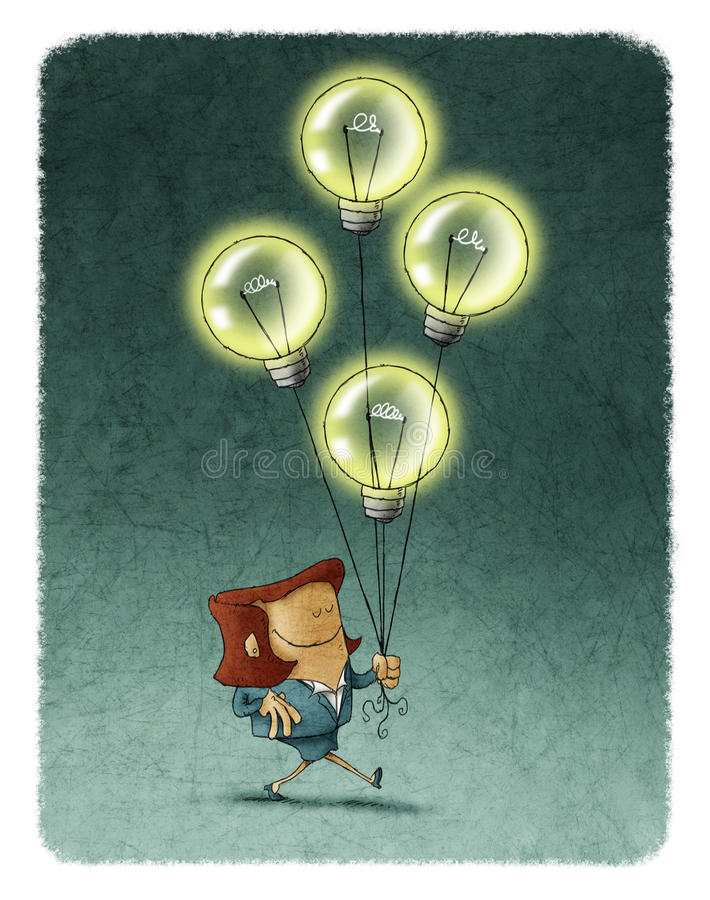 Businesswoman walking with four flying illuminated bulbs royalty free illustration