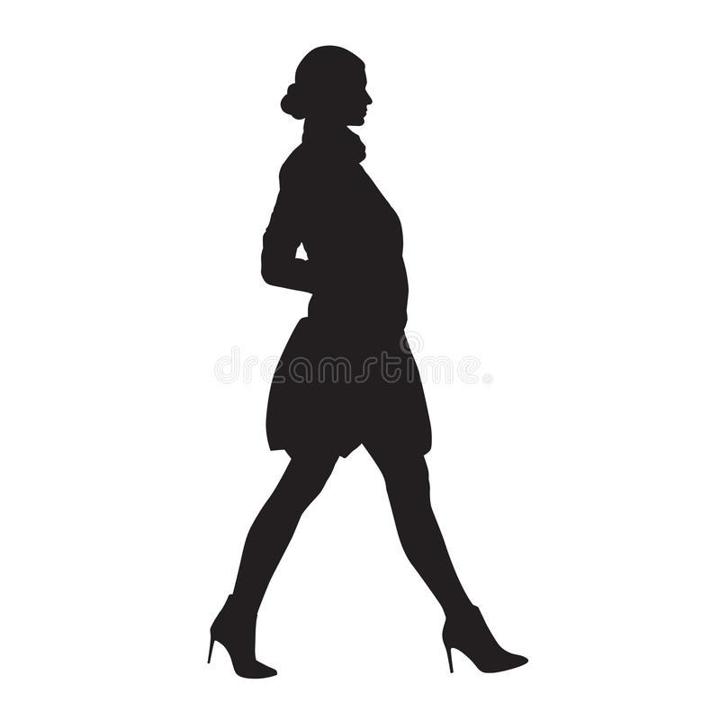 Businesswoman walking in high heels shoes and mini skirt, side view, isolated vector silhouette. Business people, model vector illustration