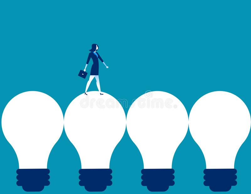 Businesswoman walking on light bulb. Concept business vector ill royalty free illustration