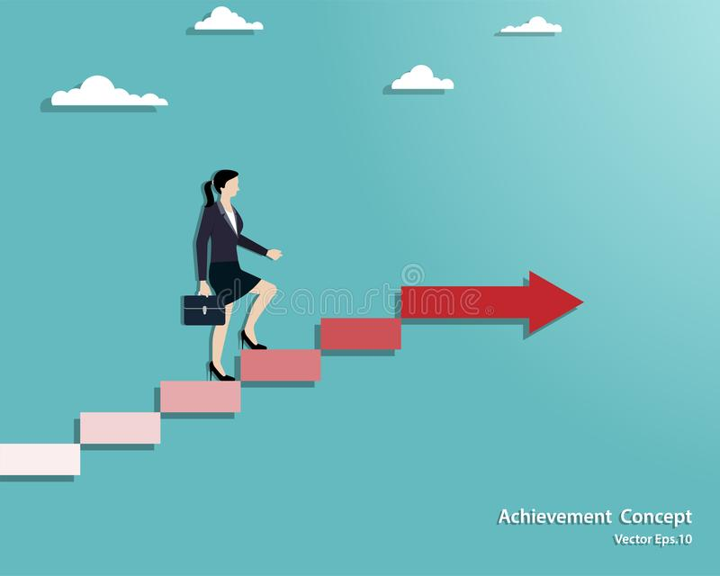 Businesswoman walking on stair up to success stock illustration