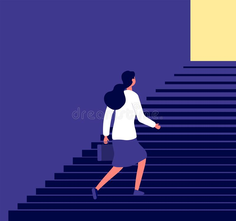 Businesswoman walking up stairs. Successful business pathway career, progression steps planning, female career growth stock illustration