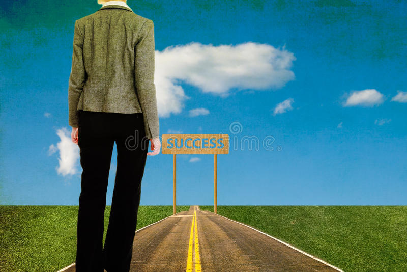 Businesswoman walks in a long road searching success royalty free stock photos