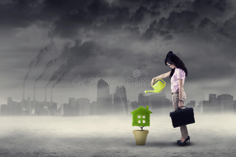 Businesswoman watering plant under air pollution royalty free stock image