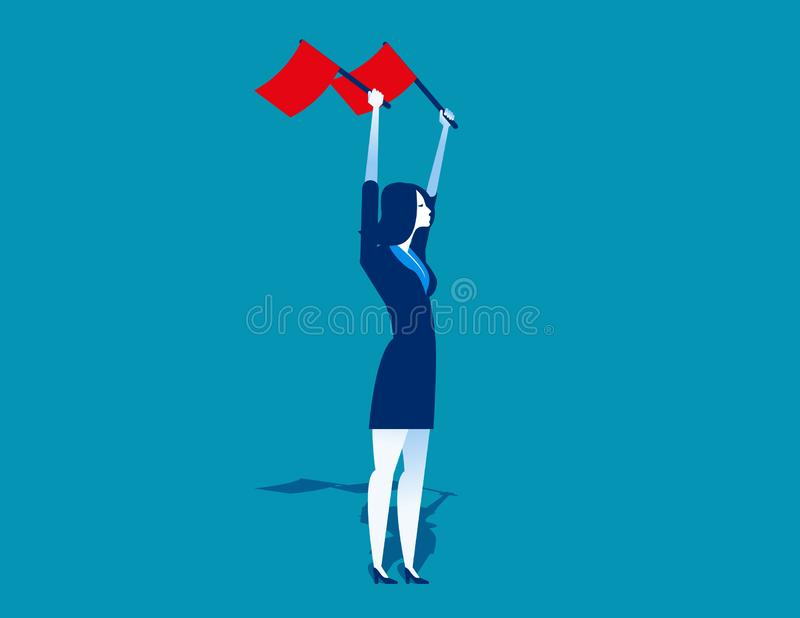Businesswoman waving the flags. Concept business vector illustration. Flat design style stock illustration