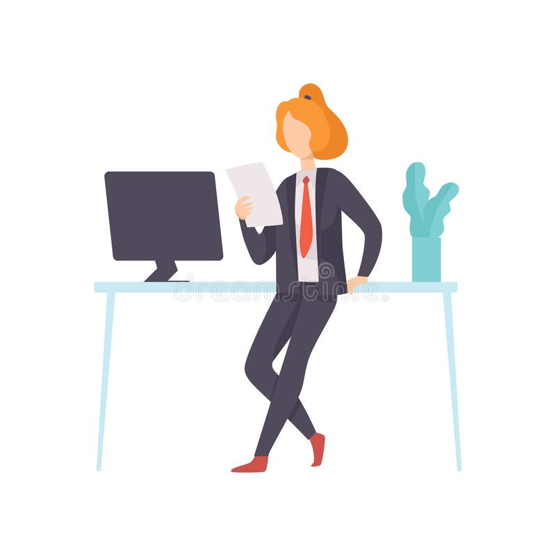 Businesswoman Wearing Black Suit Working in Office, Business Employee Character at Work Vector Illustration vector illustration