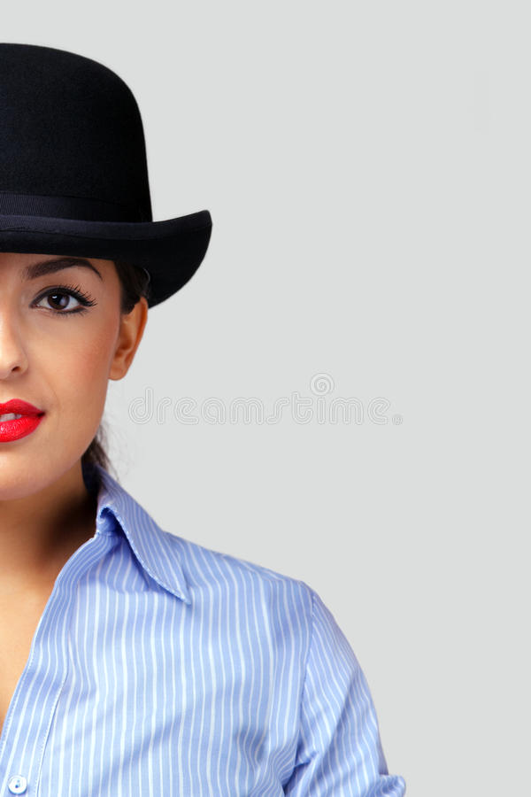 Download Businesswoman Wearing A Bowler Hat. Stock Image - Image: 11913415