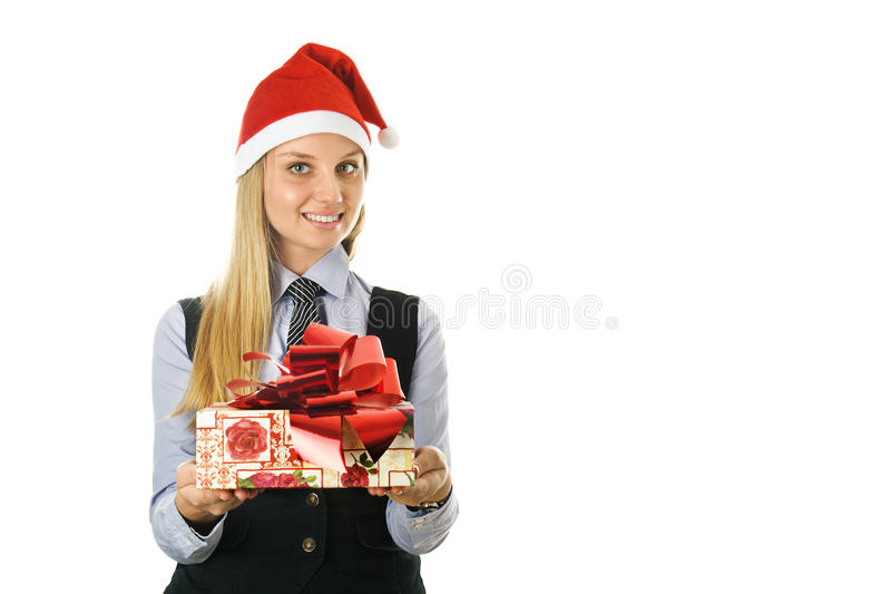 Download Businesswoman Wearing A Santa's Hat With A Gift Royalty Free Stock Photo - Image: 22184755