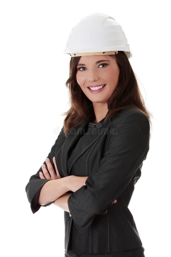 Businesswoman In White Helmet Royalty Free Stock Photos