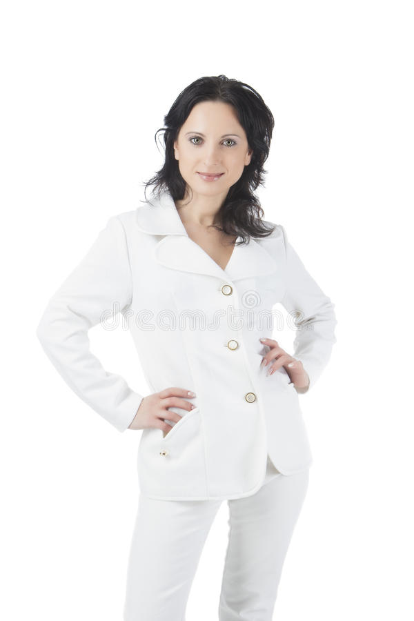 Download Businesswoman In White Suite Stock Image - Image: 25212451