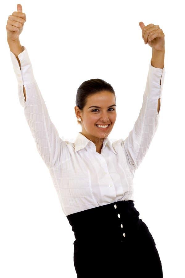 Businesswoman winning royalty free stock image