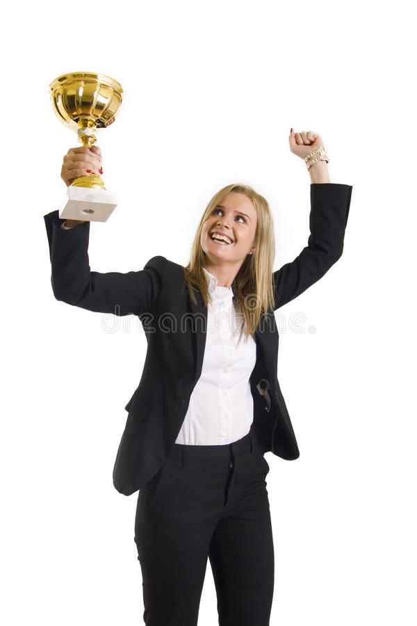 Businesswoman winning a cold cup. Picture of an attractive businesswoman winning a cold cup royalty free stock photo