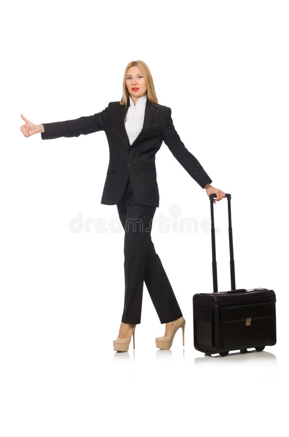 The businesswoman woman travelling with suitcase. Businesswoman woman travelling with suitcase stock photo