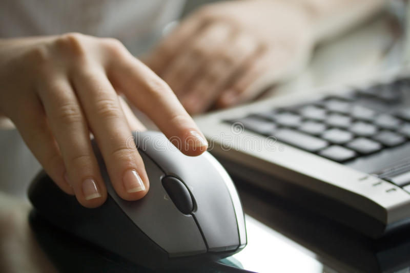 Download Businesswoman Working With Black Computer Mouse. Stock Image - Image: 11483595