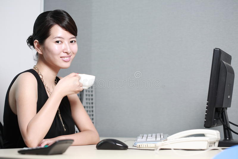 Download Businesswoman Working With Computer In Office Stock Image - Image of adult, network: 14067161