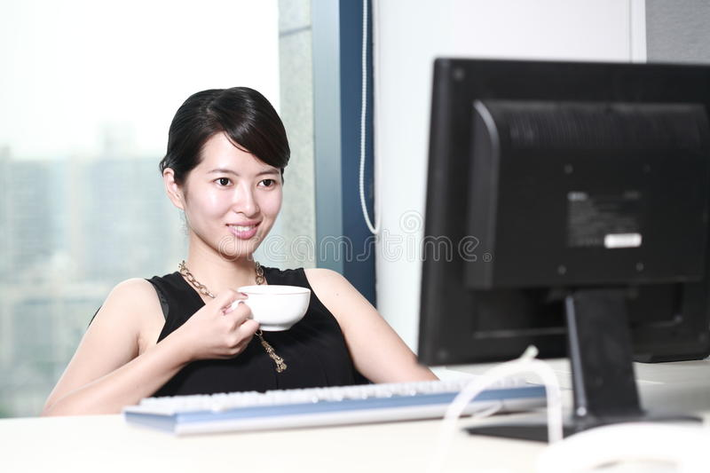 Download Businesswoman Working With Computer In Office Stock Image - Image: 14067239