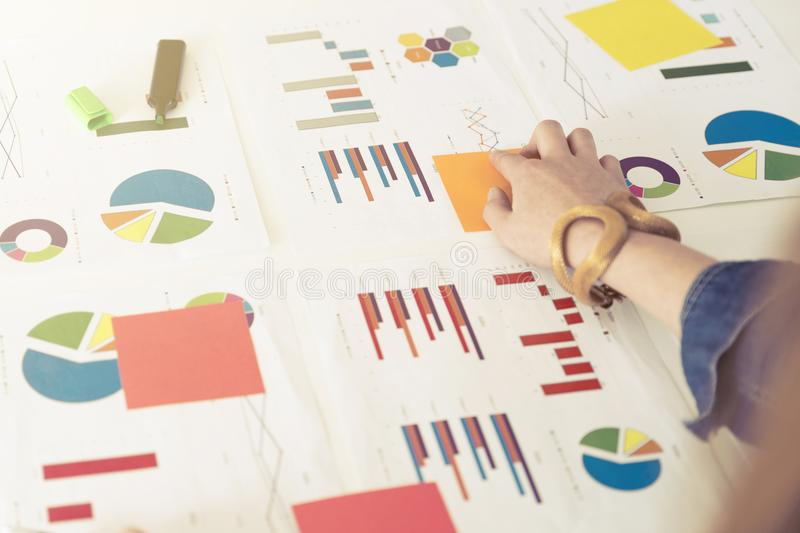 Businesswoman working with graphs and charts. Business concept, stock image